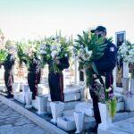 Autoridades municipales, vulcanos y familiares depositaron ofrenda floral en memoria de bomberos
